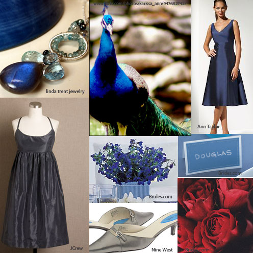 royal blue and red wedding inspiration board