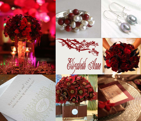 cranberry and gray wedding inspiration board