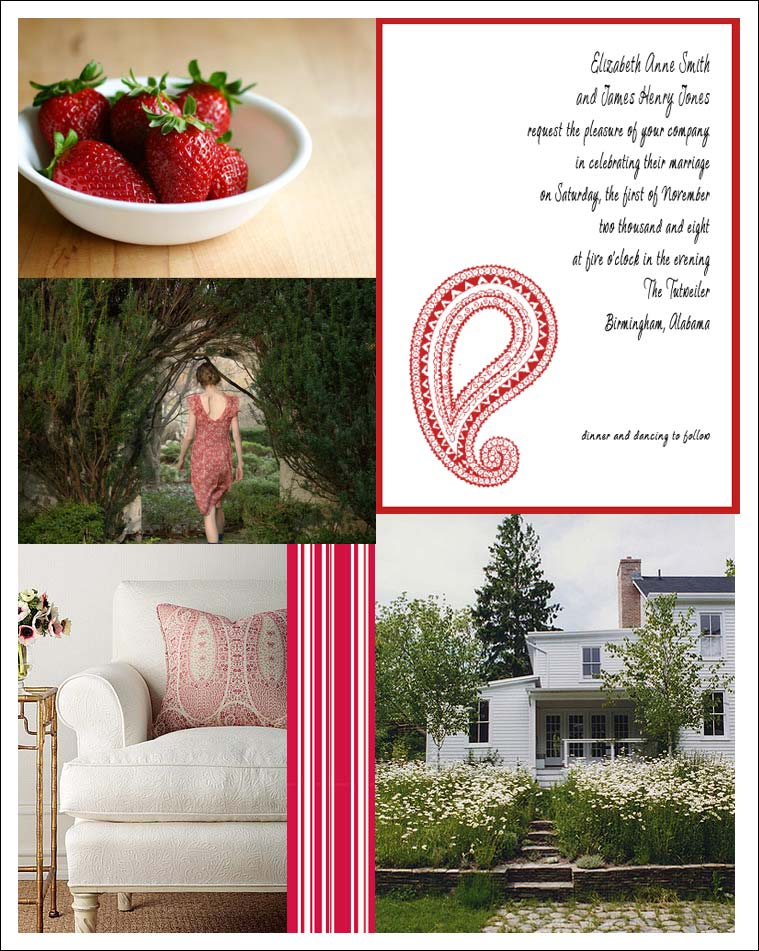 red and white wedding inspiration board