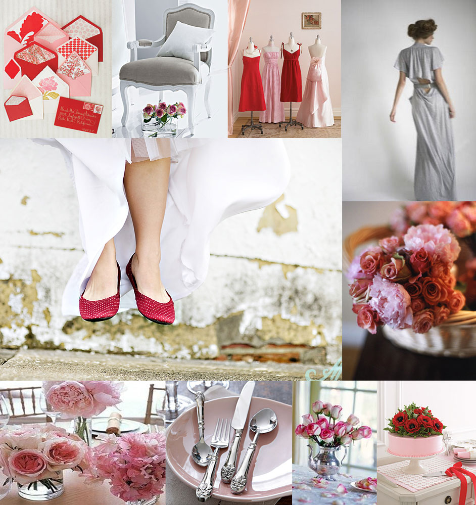 Red Pink And Gray Wedding Inspiration Board