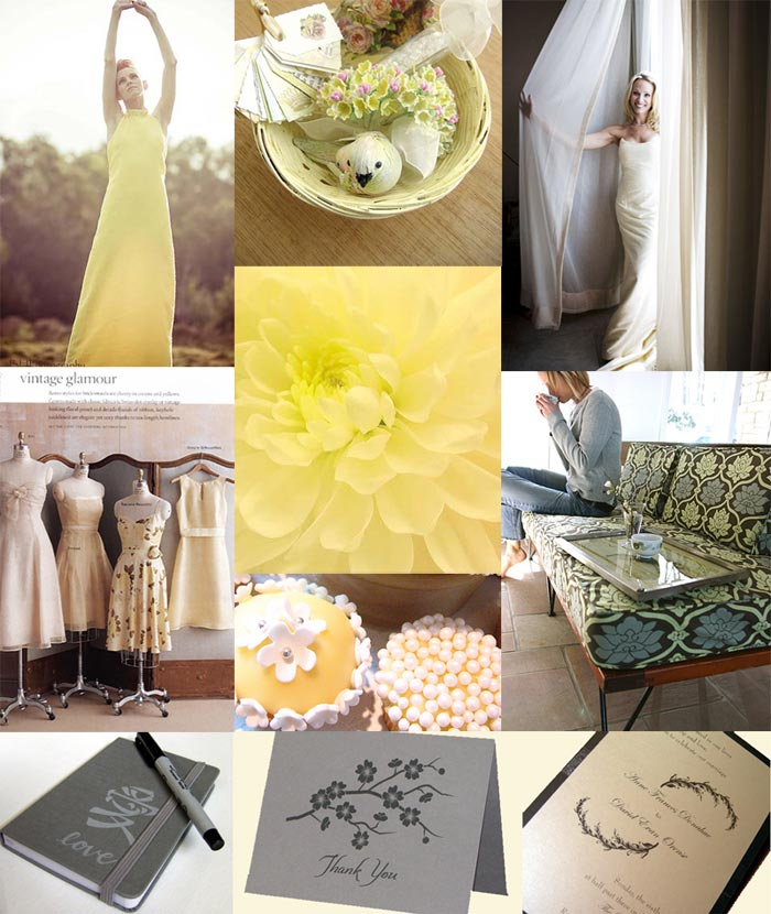 Grey Wedding Ideas: Pale Yellow, Slate Gray, And Ivory