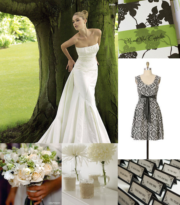 green black and white wedding ideas. of lack white and green.