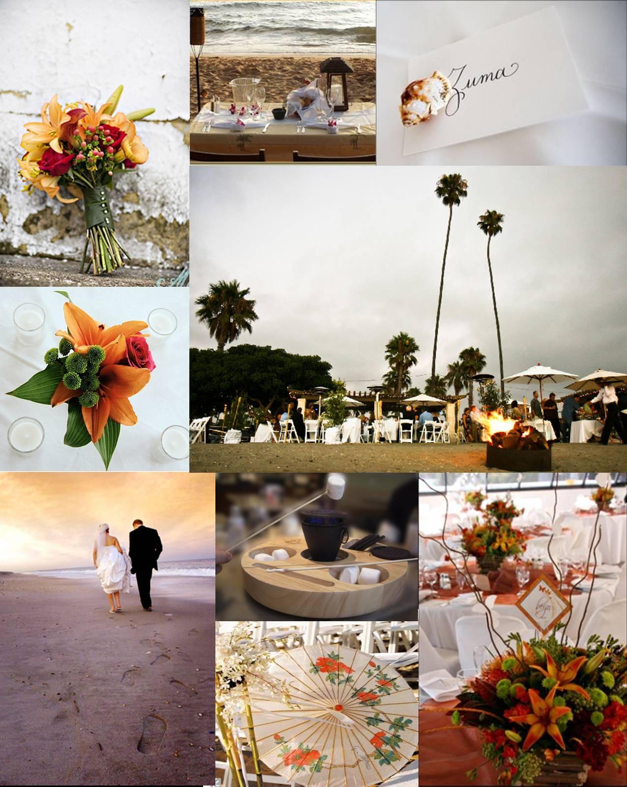bonfire on the beach wedding inspiration board