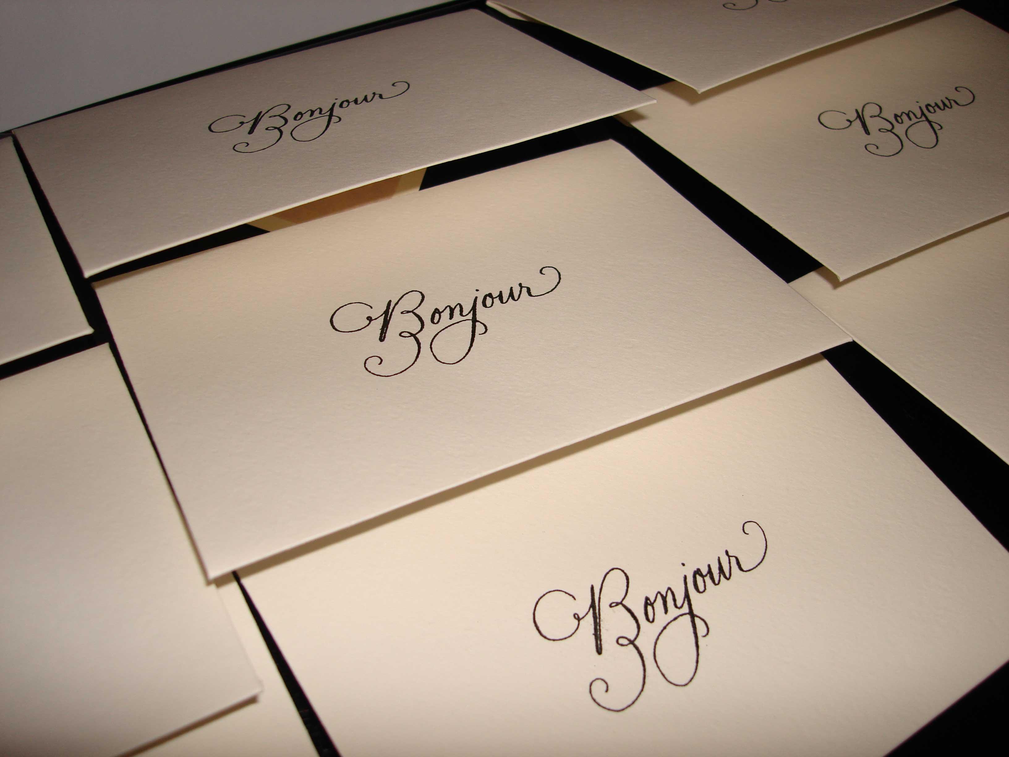 bonjour calligraphy envelopes