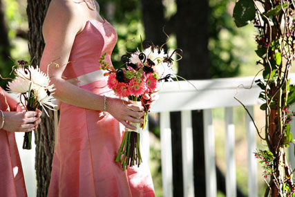 pink bridesmaid and bouquet