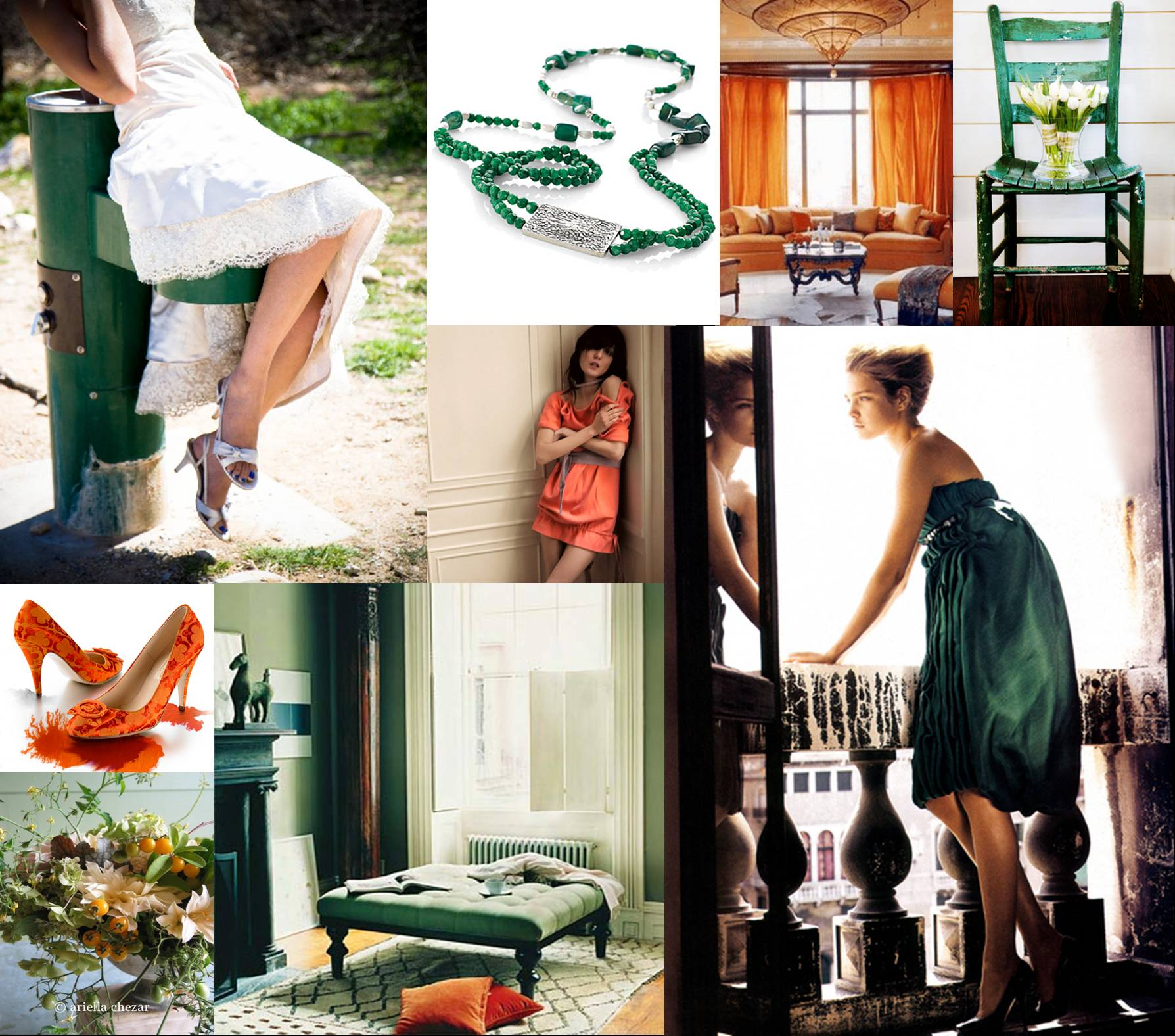emerald and mango wedding inspiration board
