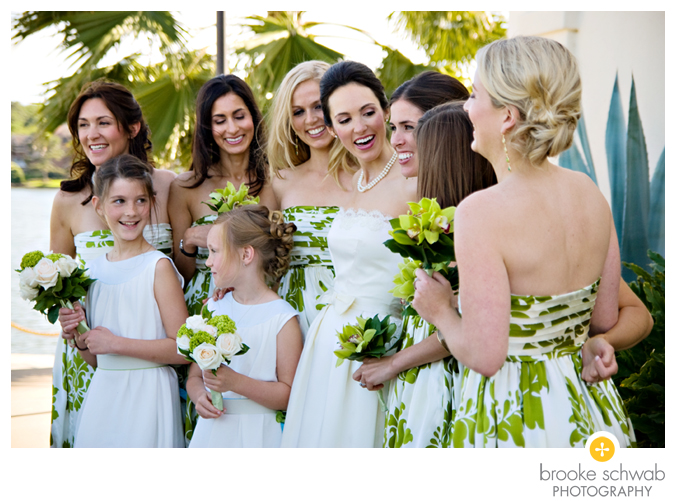 green floral bridesmaids dress group with flower girls