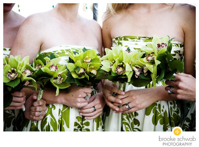 green floral bridesmaids dresses