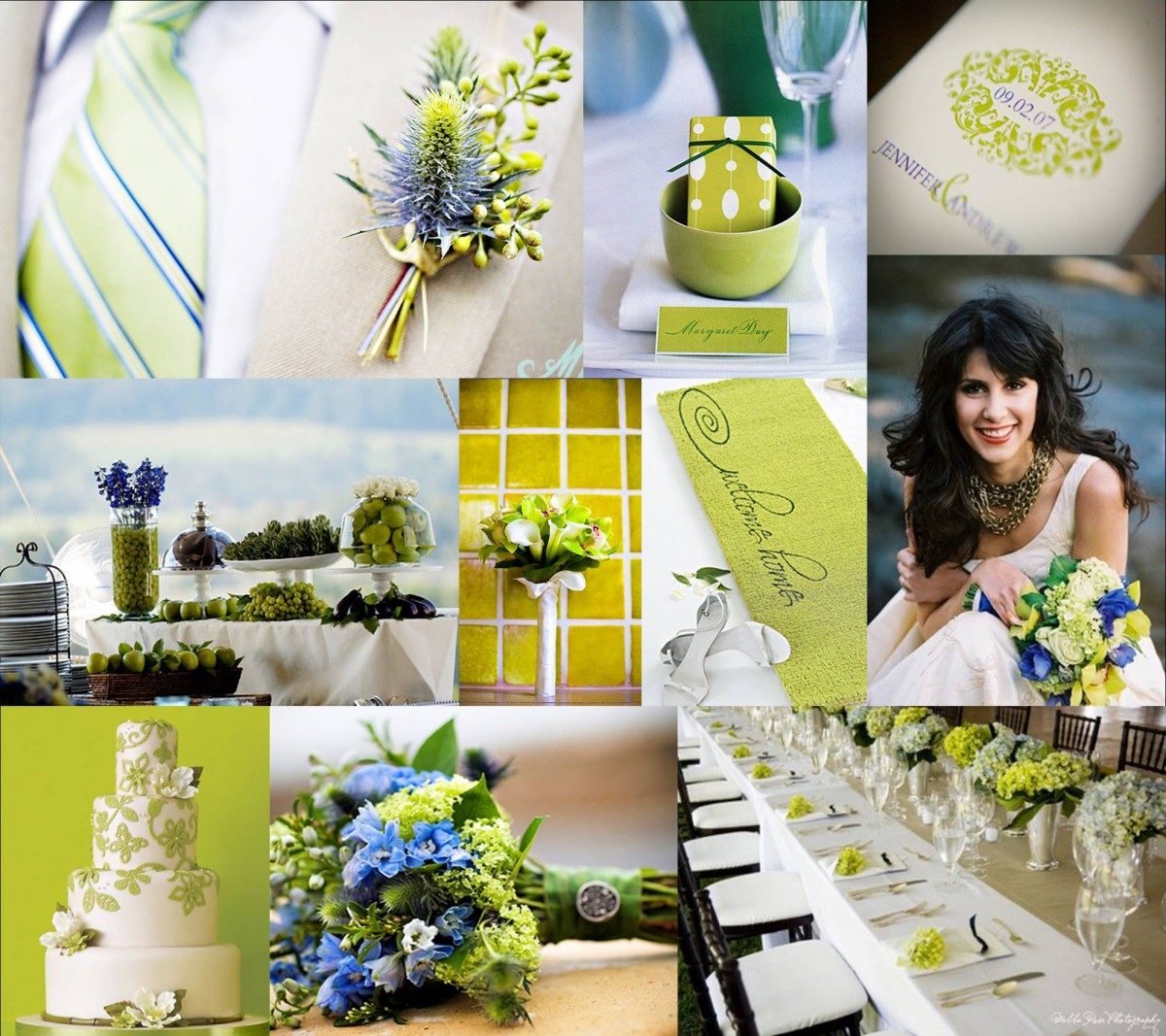 Lime And Periwinkle Wedding Inspiration Board