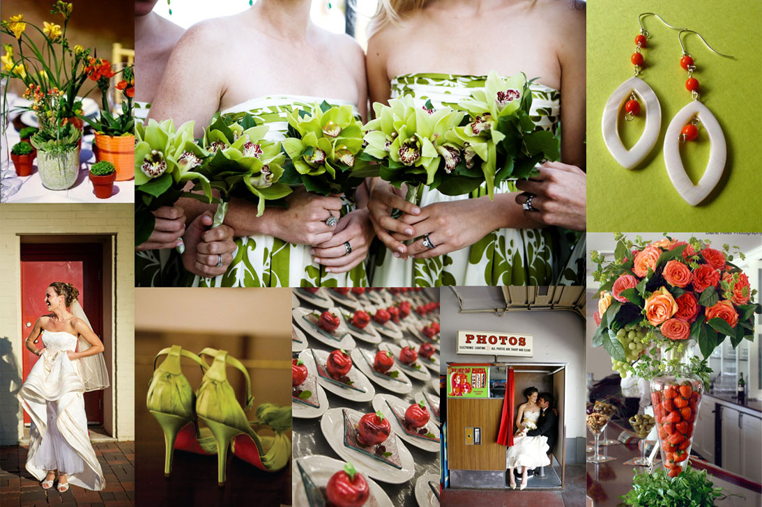 lime green and red wedding inspiration board
