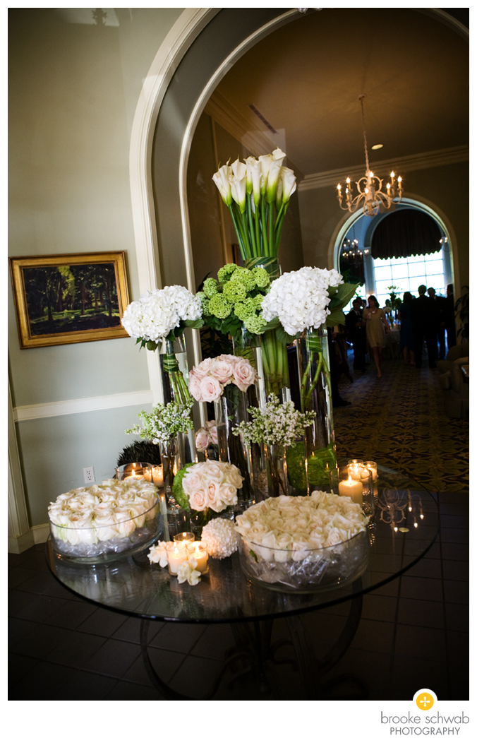 modern green floral arrangement cluster wedding