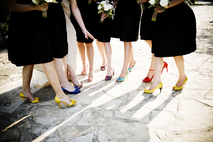 multicolored bridesmaid shoes