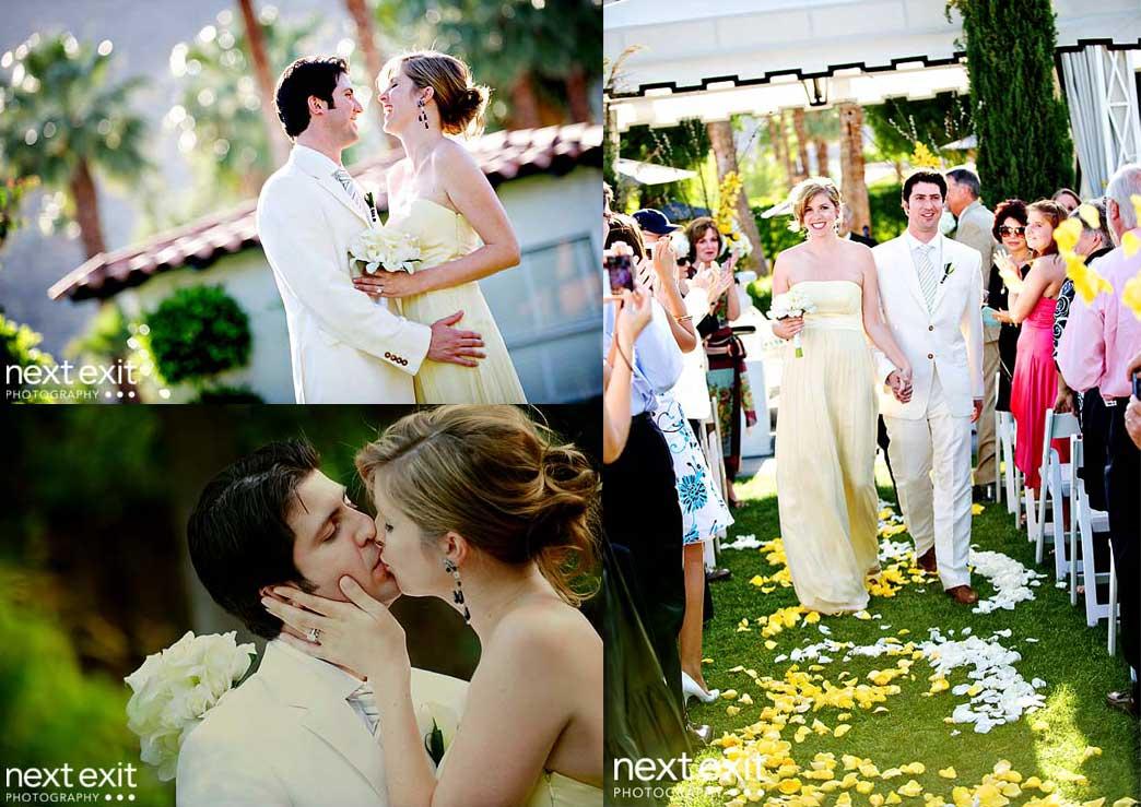 yellow bride and groom ceremony portraits