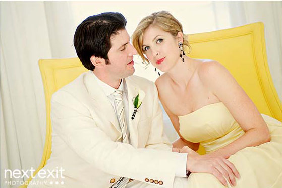 yellow bride and groom