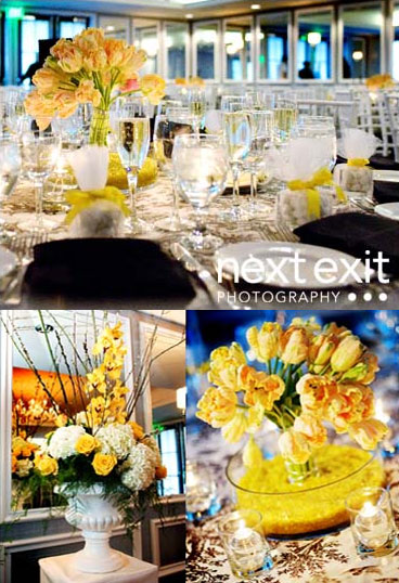 yellow reception floral details