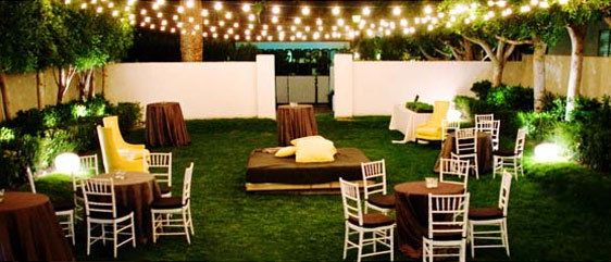 brown wedding reception lounge area