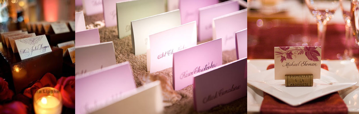 purple escort cards calligraphy