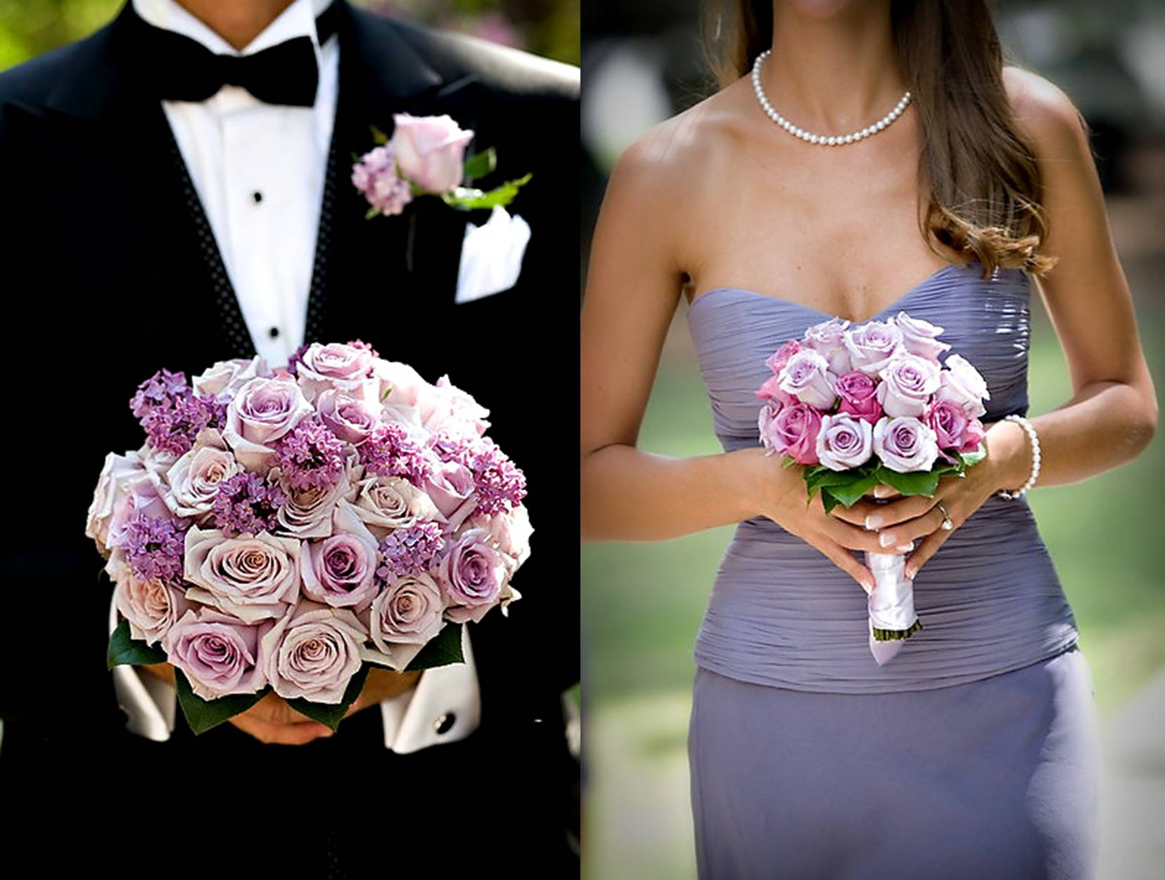 purple bridesmaid and bouquet