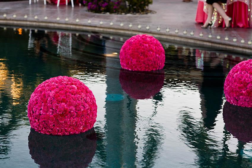 hot pink pomanders in pool