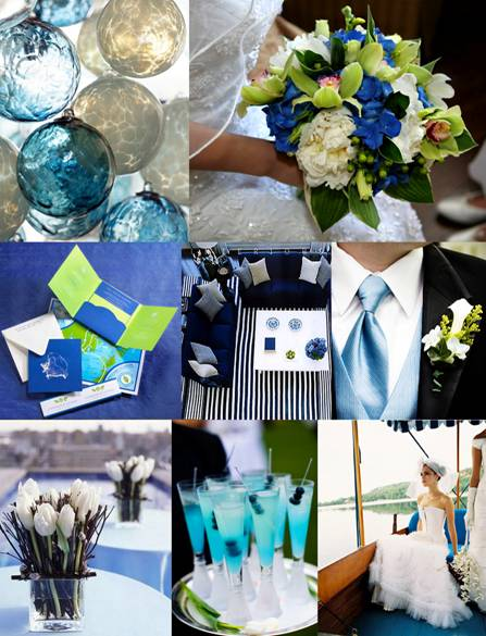 shades of blue and apple green wedding inspiration board