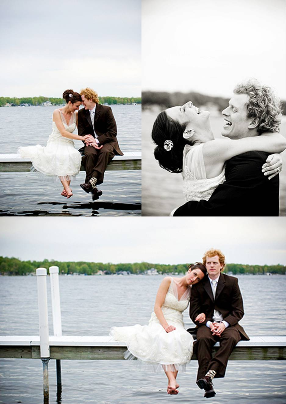 bride and groom lake portrait