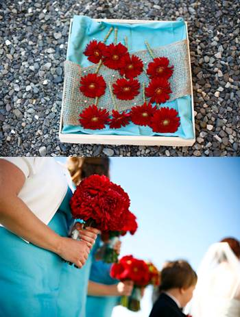 aqua and red wedding