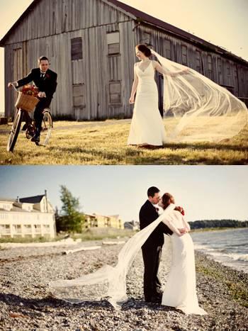 wedding portraits on the lake