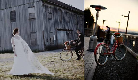 bicycle wedding portraits