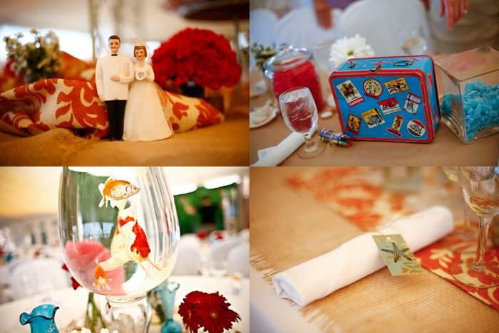 aqua and coral fish wedding reception centerpieces