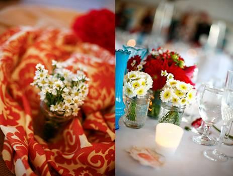 aqua and coral wedding reception centerpieces
