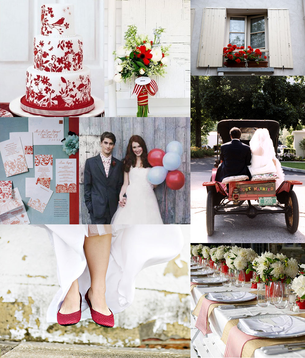 light blue and red wedding inspiration board
