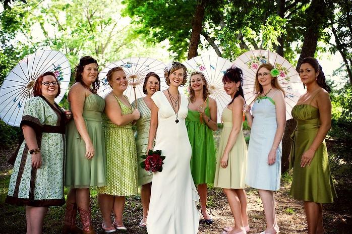 Bohemian Backyard Oklahoma City Wedding Mismatched Bridesmaids
