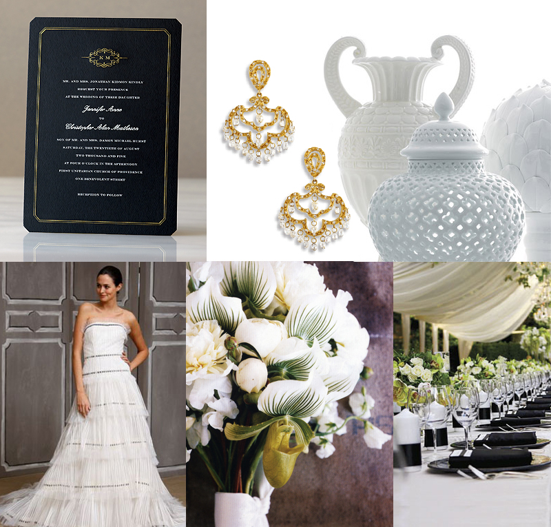 Black + light champagne/gold wedding colors