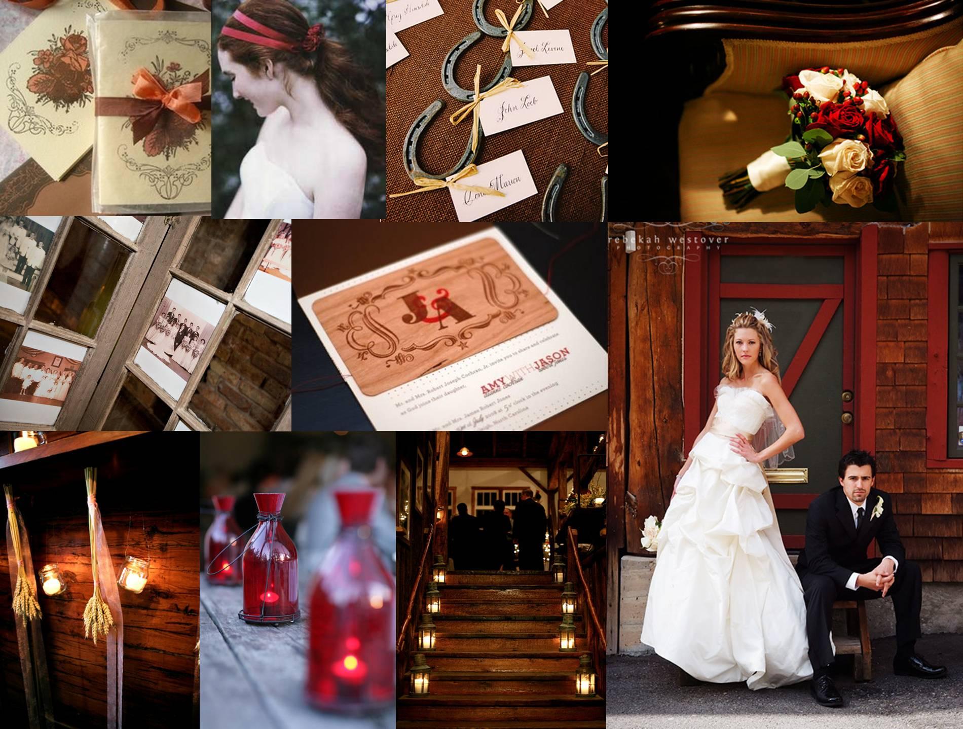 rustic red wedding inspiration board