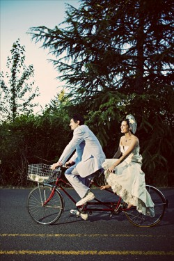 Bride-and-Groom-on-Bicycle