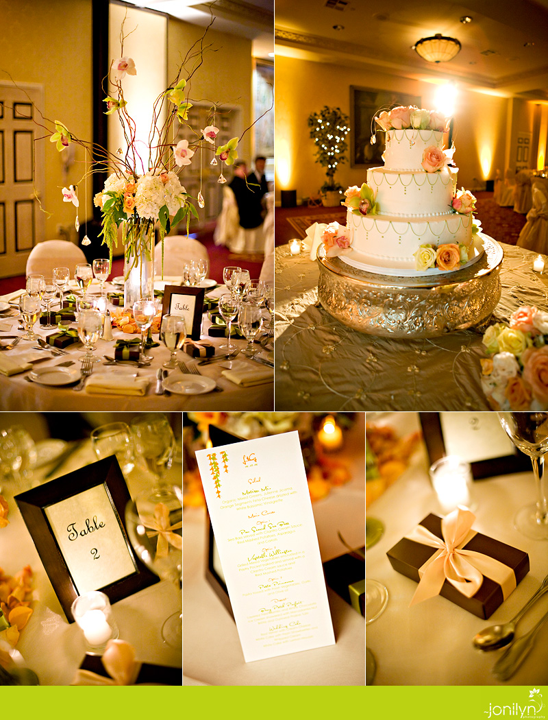 pink and gold reception details
