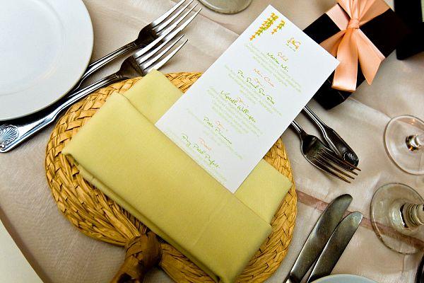 wedding reception menu napkin
