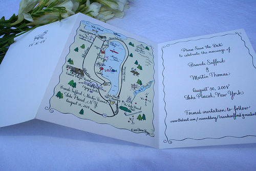 hand drawn map save the date