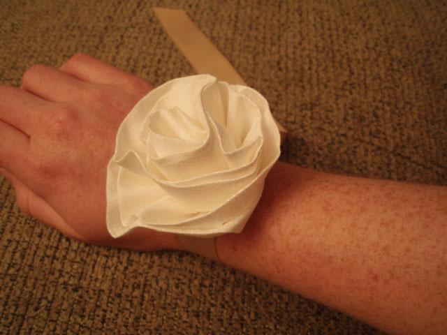 diy fabric flower wrist corsage