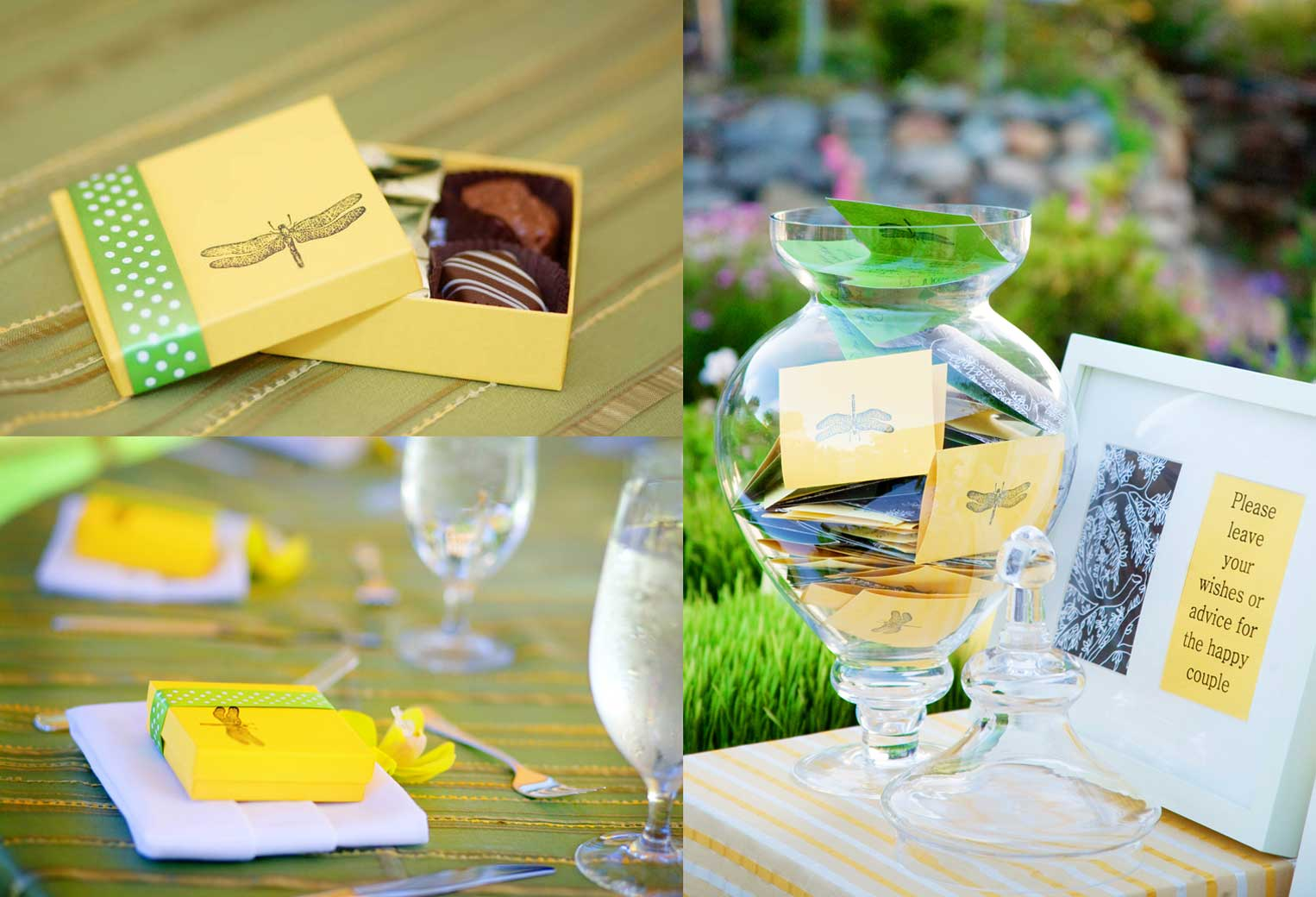 chocolate favors and guest wishes