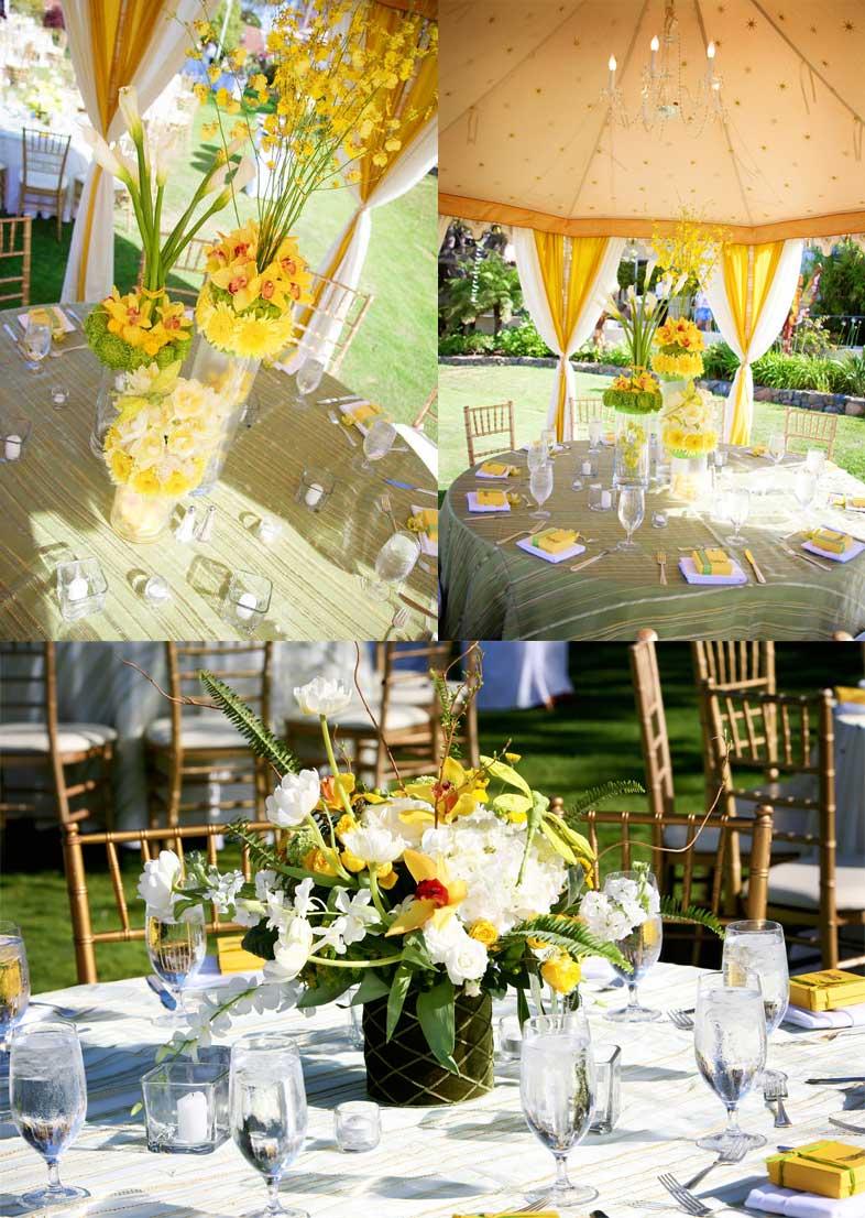 yellow tent wedding