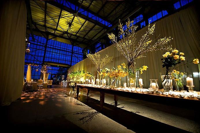 yellow modern warehouse wedding flowers