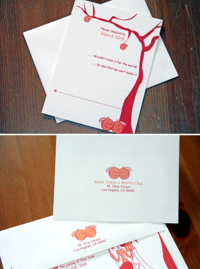 red and peach wedding invitations