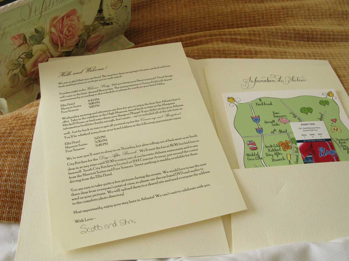 out of town information folder wedding