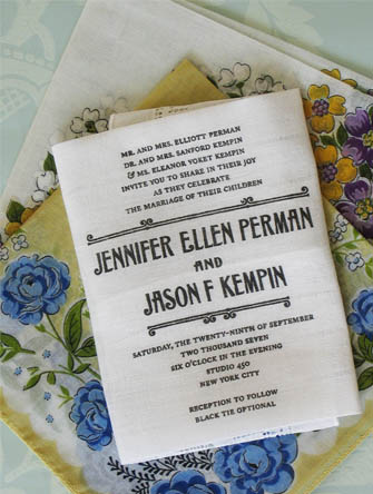 fabric wedding invitations