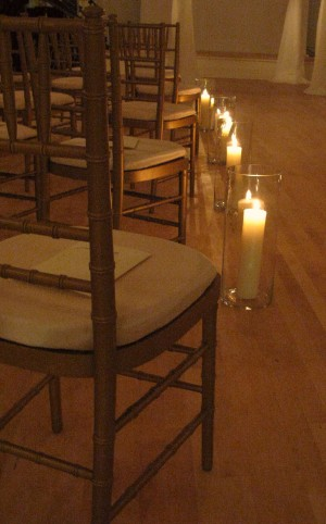 aisle lined with candles