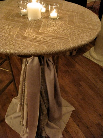 gold lace cocktail table linen