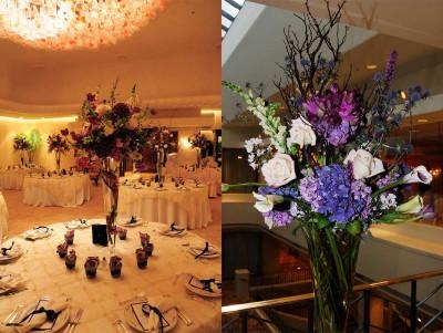 purple branch floral arrangements