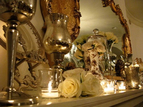 gold mantle decor