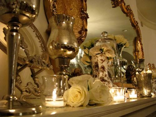 gold mantle decor